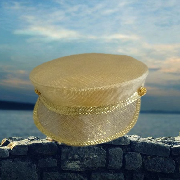 bd9cc86f904 YSL Yves Saint Laurent Rive Gauche Gold Hat VNTG. M 5b6f59d9f63eea47d66db720